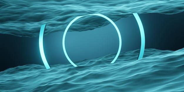 Cadre de cercle et anneau de scène de studio géométrique de surface de l'eau pour la présentation du produit ou le texte
