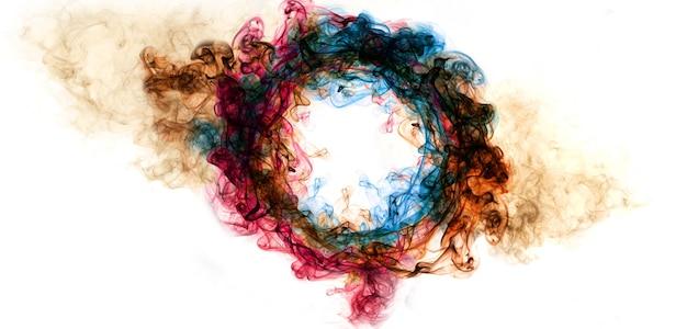 Cadre de cercle de fumée d'art abstrait coloré
