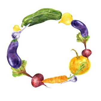Cadre de cercle de légumes de jardin colorés. illustration aquarelle dessinée à la main sur fond blanc