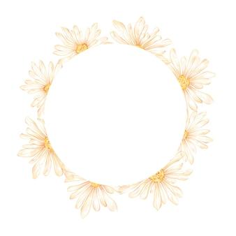 Cadre de cercle de nature aquarelle avec des fleurs de camomille bouquet de couronne florale sur fond blanc