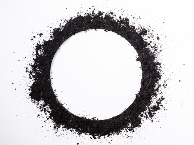 Cadre de cercle rond de terre noire pour fond de plante