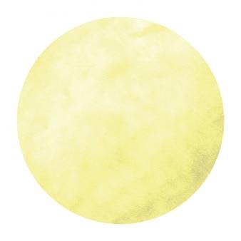 Cadre circulaire aquarelle dessiné main jaune texture avec des taches
