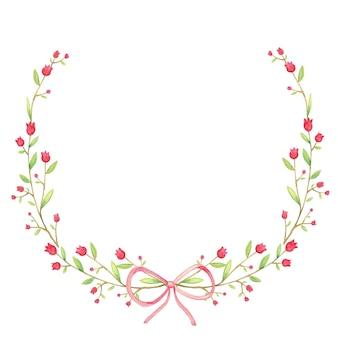 Cadre circulaire belle fleur et ruban