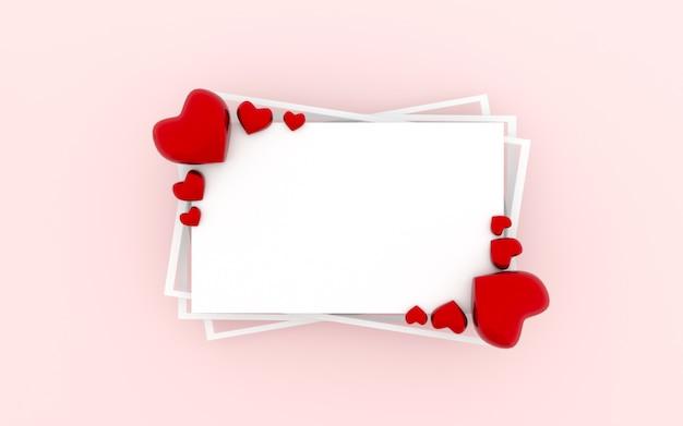 Cadre coeur rouge et concept de la saint-valentin.