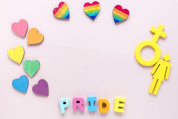 Cadre avec coeurs et symbole de genre