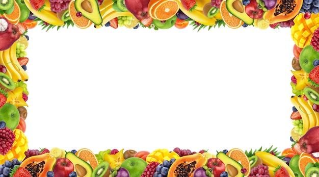 Cadre composé de fruits et de baies isolés sur fond blanc