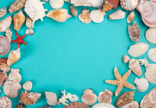 Cadre en coquillages. vacances d'été, concept de voyage