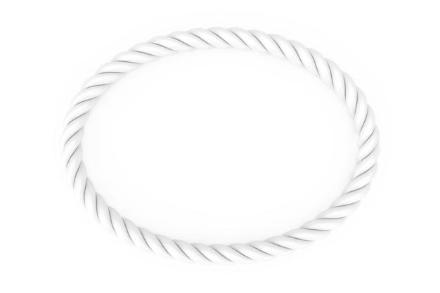 Cadre de corde ellipse blanc avec un espace vide pour votre conception sur un fond blanc. rendu 3d