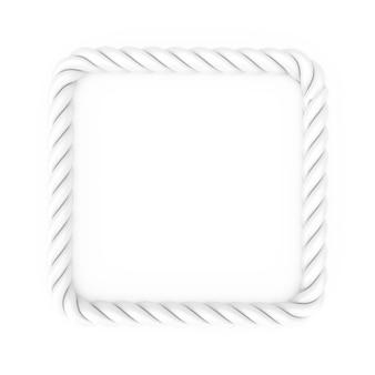 Cadre de corde rectangle blanc avec un espace vide pour votre conception sur un fond blanc. rendu 3d