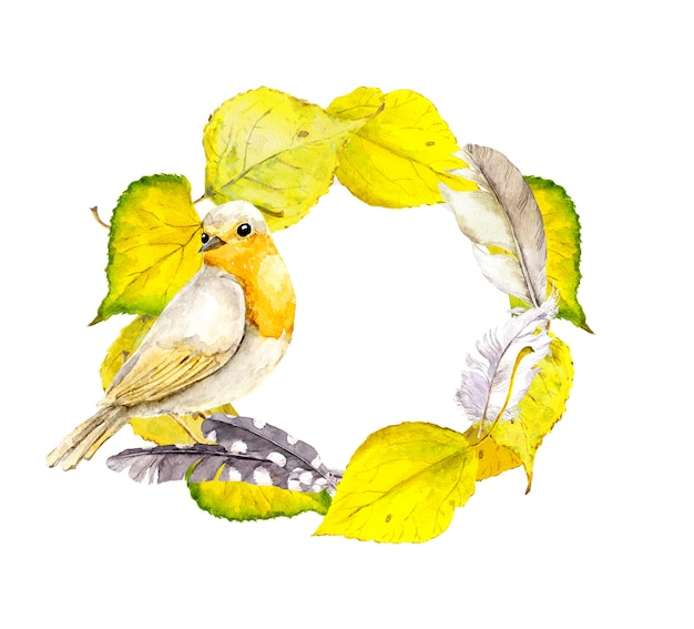 Cadre de couronne automne avec des feuilles jaunes et oiseaux. aquarelle