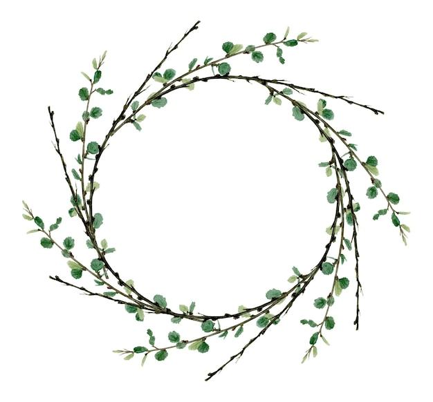 Cadre de couronne de verdure de forêt d'aquarelle parfait pour l'illustration botanique de logo et d'invitation de mariage