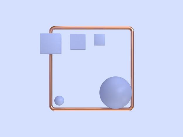 Cadre en cuivre forme abstraite géométrique fond violet-violet rendu 3d