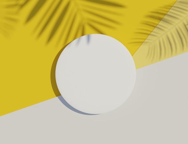 Cadre de cylindre blanc blanc avec scène d'ombre de feuilles de pastel et de palmier.