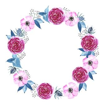 Cadre décoratif floral. bordure peinte à la main aquarelle