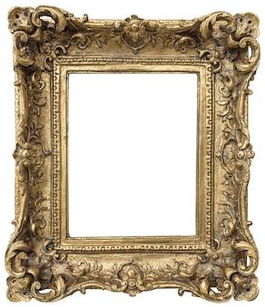 Cadre doré antique avec espace vide isolé sur fond blanc