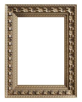 Cadre doré classique avec décor d'ornement isolé sur fond blanc. illustration numérique. rendu 3d