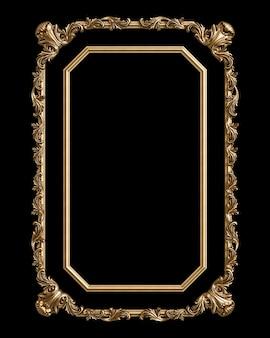 Cadre doré classique avec décor d'ornement isolé sur fond noir. illustration numérique. rendu 3d