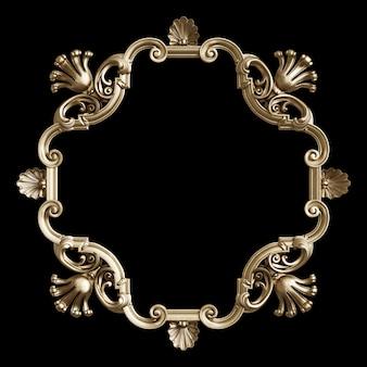 Cadre doré classique avec décor d'ornement isolé sur fond noir