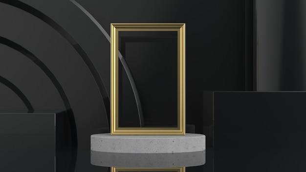 Cadre doré sur composition de scène en marbre