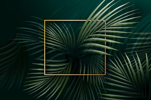 Cadre doré sur feuilles