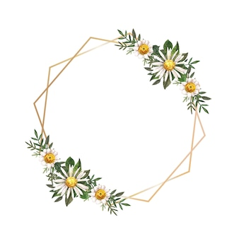 Cadre doré avec des fleurs pressées et séchées à l'aquarelle sur fond blanc