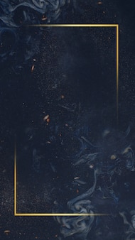 Cadre doré sur fond bleu