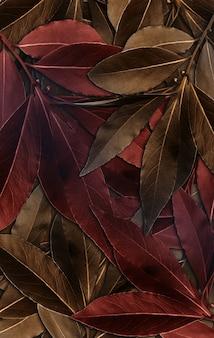 Cadre doré de fond de feuille et gouttelettes de bokeh illustration 3d