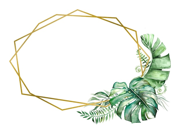 Cadre doré géométrique aquarelle feuilles tropicales
