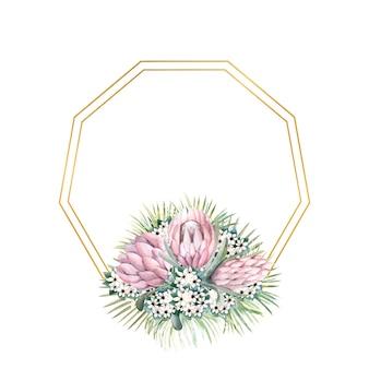 Cadre doré hexagonal avec fleurs de protéa feuilles tropicales feuilles de palmier fleurs de bouvardia