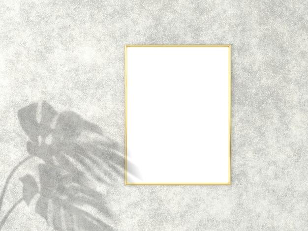 Cadre doré vertical 3x4 pour maquette d'image. rendu 3d.