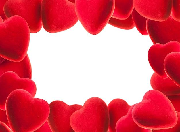 Cadre du coeur rouge. prise de vue en studio