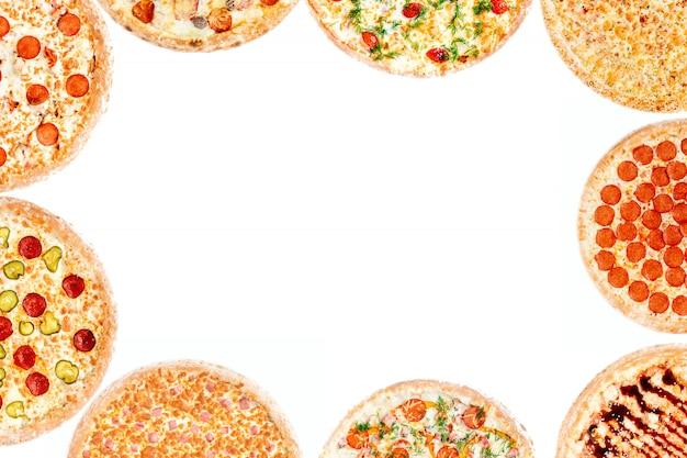Cadre avec ensemble de différentes pizzas
