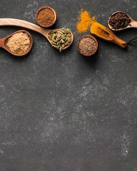 Cadre d'épices vue de dessus avec copie-espace
