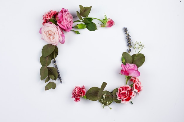 Cadre fait de belles fleurs et feuilles sur une surface blanche