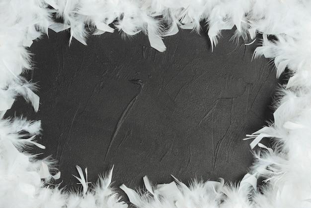 Cadre fait avec des plumes blanches