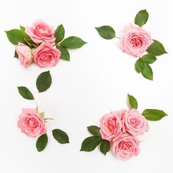 Cadre fait de roses roses isolé