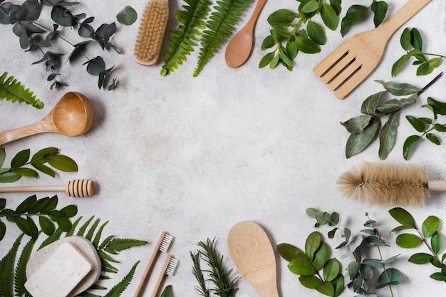 Cadre de feuilles et accessoires de spa