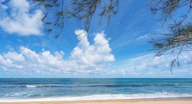 Cadre de feuilles avec plage d'été mer incroyable ciel bleu clair et nuages blancs vague s'écrasant sur le rivage sablonneux, feuilles d'arbres au-dessus de la mer espace de copie.