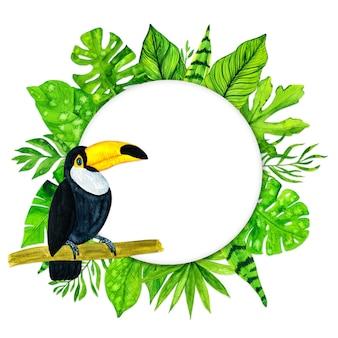 Cadre de feuilles tropicales aquarelle et toucan