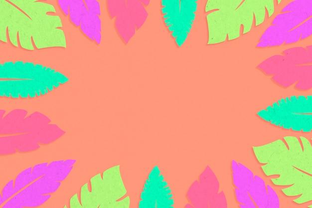 Cadre de feuilles tropicales multicolores