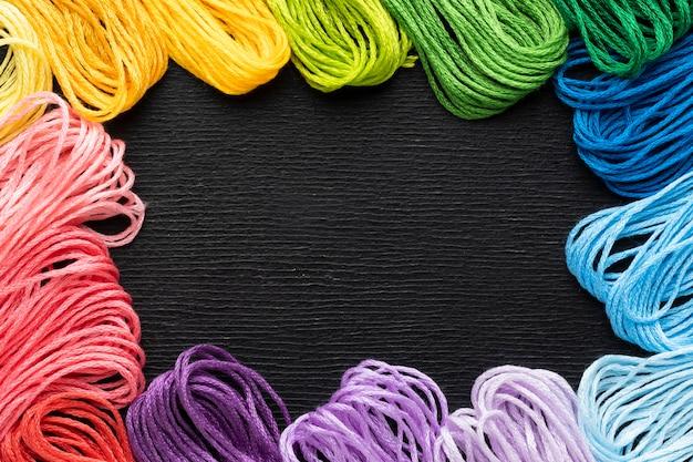 Cadre de fil coloré vue de dessus