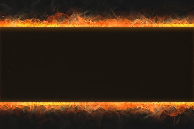 Cadre de flamme, forme de rectangle, feu brûlant réaliste
