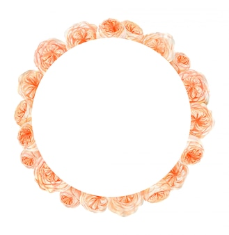 Cadre de fleur rose aquarelle pêche et orange