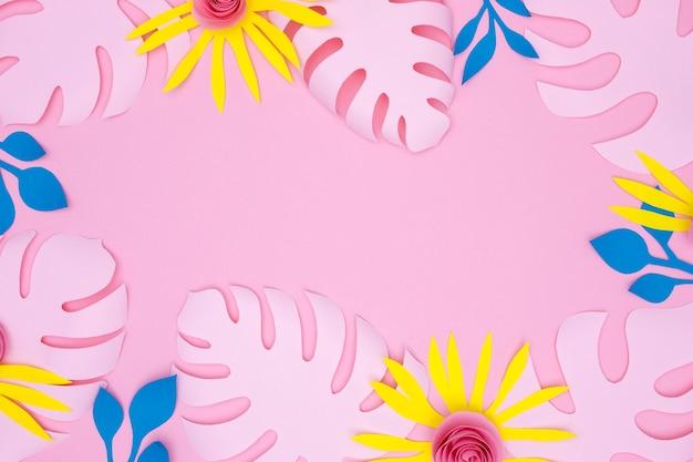 Cadre de fleurs et de feuilles colorées
