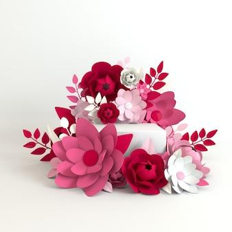 Cadre de fleurs et de feuilles en papier, plate-forme podium pour la présentation des produits
