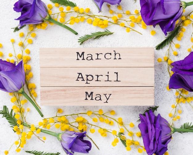Cadre de fleurs et fleurs de printemps