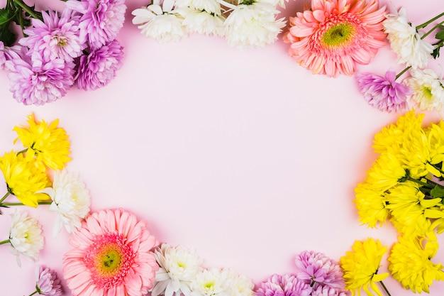 Cadre de fleurs fraîches lumineuses