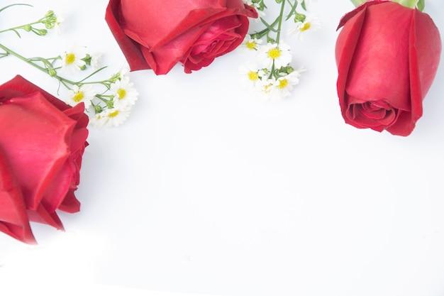 Cadre fleurs roses et composition rouge