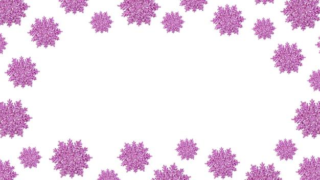 Cadre de flocons de neige rose brillant. fond de noël festif. nouvel an et vacances d'hiver. copiez l'espace.