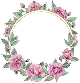 Cadre floral aquarelle cercle dessiné à la main